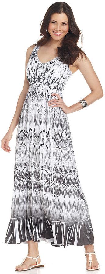 Style&Co. Petite Dress, Sleeveless Ikat-Print Maxi