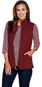 Denim & Co. Active Striped Top w/ Zip FrontPeplum Vest Set