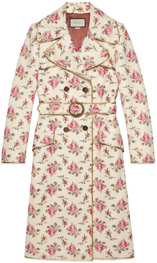 Roses print leather trench coat