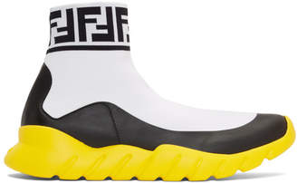 Fendi White Tech Knit Forever High-Top Sneakers