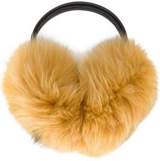 Anya Hindmarch Yellow fur smiley ear muffs