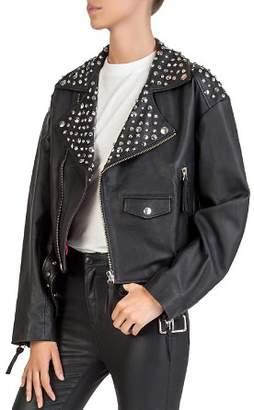 The Kooples Studded Leather Moto Jacket