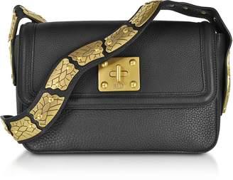 RED Valentino Large Black Pebble Leather Sin Crossbody Bag