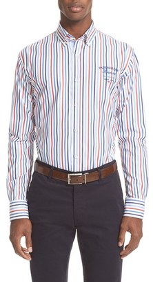 Men's Paul & Shark Regular Fit Logo Stripe Sport Shirt $295 thestylecure.com