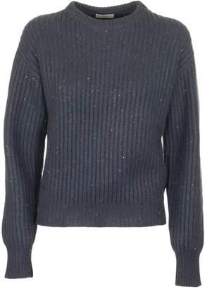 Brunello Cucinelli Cashmere Crew Neck Sweater In English Ribbed Blue