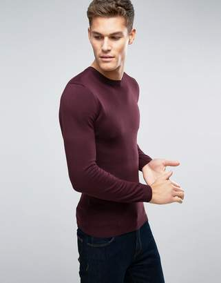 Asos Muscle Fit Cotton Sweater In Burgundy