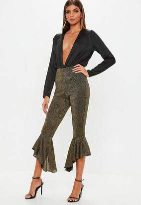 Missguided Petite Gold Sparkle Flare Pants