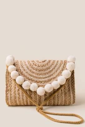francesca's Josie Braided Jute Pom Clutch - Ivory