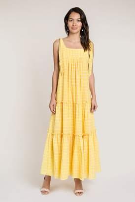 c7686f6081439 Beulah London Dipali Yellow And Pink Check Long Dress