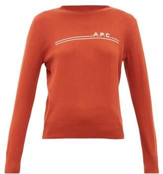 A.P.C. Logo Intarsia Crew Neck Cotton Blend Sweater - Womens - Burgundy
