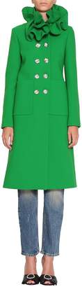 Gucci Ruches Collar Wool Coat