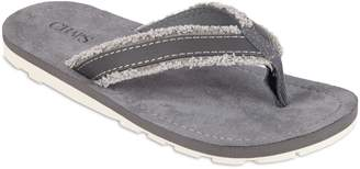Chaps Men's Canvas Frayed White Outsole Thong Flip-Flops