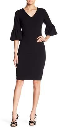ECI 3/4 Length Bell Sleeve Sheath Dress