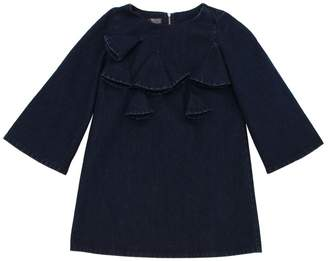 Denim Dress W/ Flare Sleeves & Appliqués