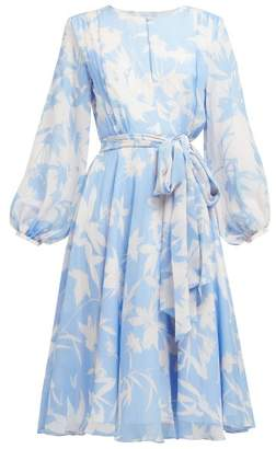 Beulah - Nandita Blue Shadow Floral Print Silk Midi Dress - Womens - Blue White