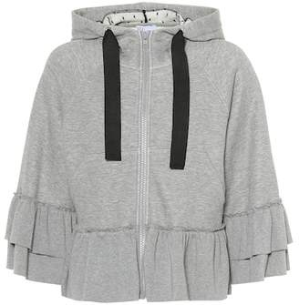 RED Valentino Ruffled cotton-blend hoodie