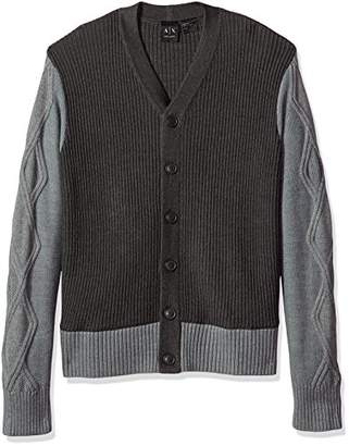 Armani Exchange A|X Men's Multi Knit Shawl Collar Cardigan