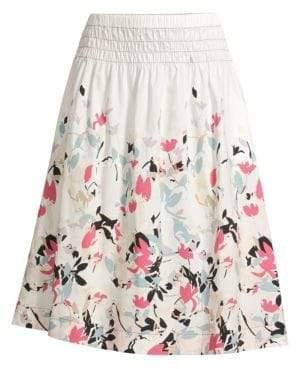 Donna Karan Printed A-Line Midi Skirt
