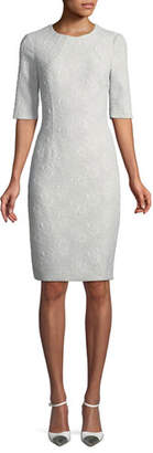 Rickie Freeman For Teri Jon Jacquard Short-Sleeve Sheath Dress