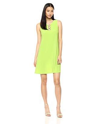 MSK Women's Trapeze Daytime Dress with Three Ring Neck Detail