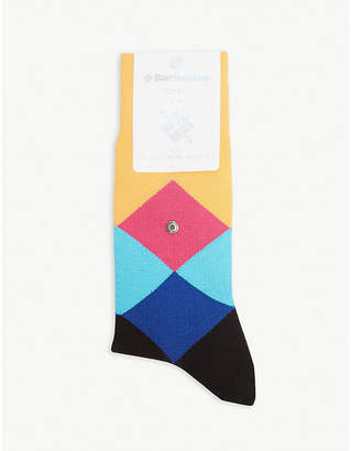 Burlington Mens Navy Blue and Pink Geometric Clyde Cotton Blend Socks