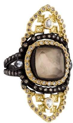 Armenta Old World Saddle Scroll Smoky Quartz Doublet Ring