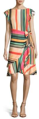 ECI Multi Stripe Front Wrap Dress