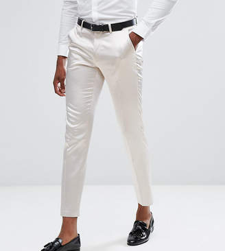 Asos Design TALL Wedding Skinny Crop Smart Pant In Cream Sateen