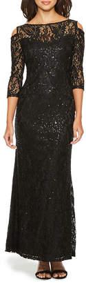 BLU SAGE Blu Sage 3/4 Sleeve Cold Shoulder Sequin Evening Gown