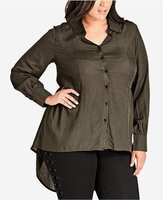 City Chic Plus Size Autumn Spell Button-Up Top
