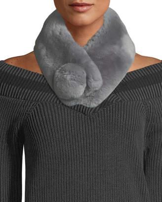 Adrienne Landau Rabbit Fur Pompom Muffler Scarf - Gray