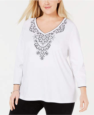 Alfred Dunner Plus Size Grand Boulevard Embroidered Yoke Top