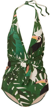 Adriana Degreas - Printed Halterneck Swimsuit - Green