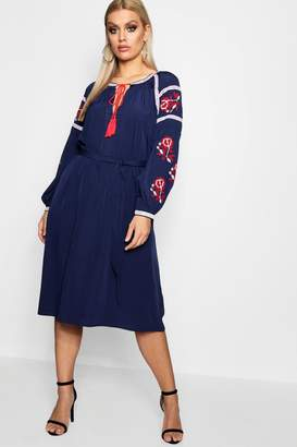boohoo Plus Eliza Embroidered Mid Dress