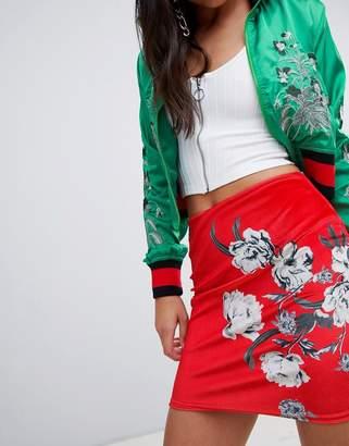 Missguided floral printed velvet skirt