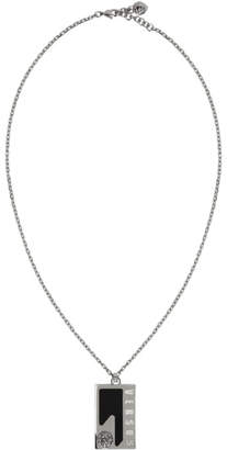 Versus Silver and Black Dog Tag Necklace