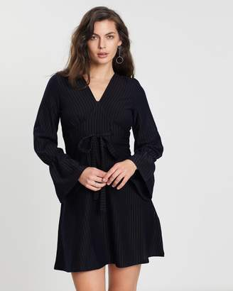 Pinstripe Fit-and-Flare Dress