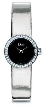 Christian Dior La Mini D de Diamond, Stainless Steel& Metallic Leather Strap Watch