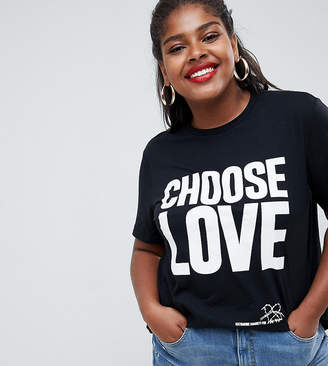 Asos Help Refugees Choose Love Curve t-shirt in black organic cotton