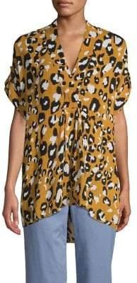 Jones New York Leopard-Print V-Neck Roll-Tab Empire Top