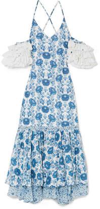 All Things Mochi - Natalia Crochet-trimmed Printed Cotton Midi Dress - Azure