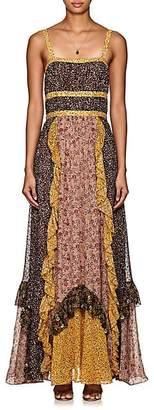 Ulla Johnson Women's Brie Floral Swiss-Dot Silk-Blend Maxi Dress