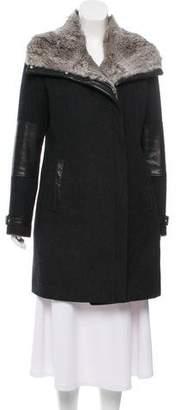 Andrew Marc Leather Trim Wool Coat