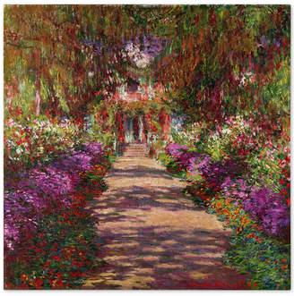 """Claude Monet 'A Pathway in Monet's Garden' 35"""" x 35"""" Canvas Wall Art"""