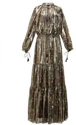 Altuzarra Currie Floral Print Metallic Silk Blend Gown - Womens - Black Gold