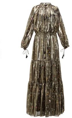 Altuzarra Currie Floral Print Metallic Silk Blend Gown - Womens - Black Gold
