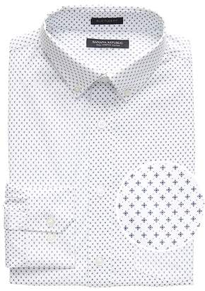 Banana Republic NEW Slim-Fit Tech-Stretch Cotton Cross Print Shirt