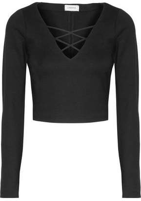 L'Agence Ava Cropped Lace-Up Stretch-Ponte Top