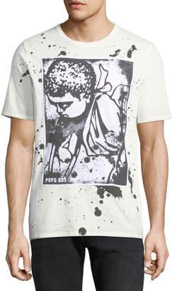PRPS Men's Paint Splattered Cherub-Logo T-Shirt