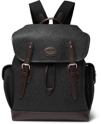 Mulberry Heritage Leather-Trimmed Pebble-Grain Coated-Canvas Backpack - Black